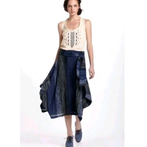 Anthropologie Dresses & Skirts - RARE ANTHRO Sparrow Indigo Striations Poncho Skirt